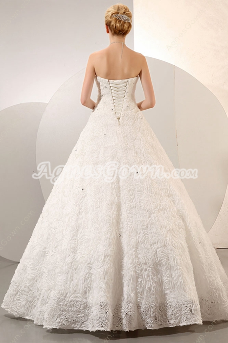 Vintage Ball Gown Floral Wedding Dress Corset Back