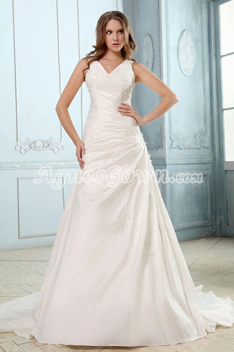 V-Neckline Ivory Satin Plus Size Wedding Dress With Buttons