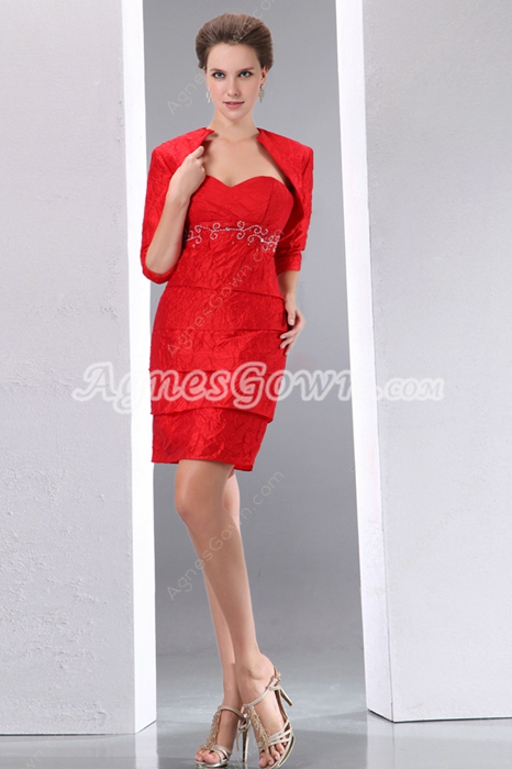 Red Crinkled Mother Of The Groom Dress With Jacket