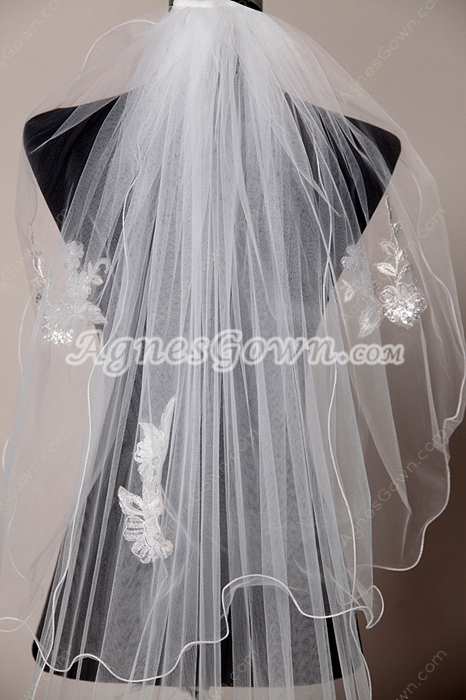 Stunning 2 Layers Wedding Veil With Lace Appliques