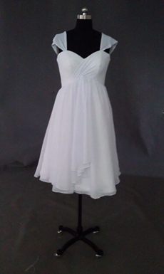 Simple White Chiffon Short Beach Wedding Dresses