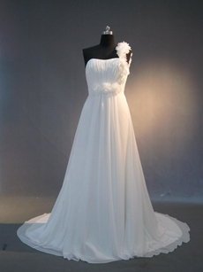 Popular Chiffon One Shoulder Destination Wedding Dresses