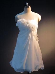 Simple White Strapless Chiffon Dresses for Damas
