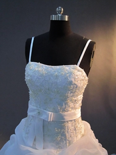 Beautiful Spaghetti Straps Puffy Bridal Dresses
