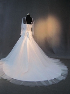 Romantic Ilussion Tulle Wedding Dresses With Long Sleeves