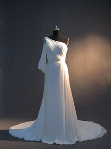Simple One Shoulder White A-line Casual Bridal Dresses with Sleeve