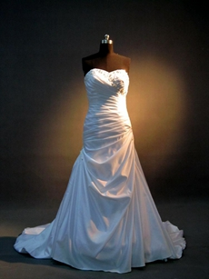 Beautiful Satin A-line Destination Wedding Dresses