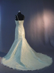 Champagne Organza Spaghetti Straps Plus Size Wedding Dresses