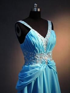 Terrific Turquoise Chiffon A-line Celebrity Dresses