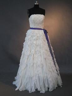 Gorgeous White Chiffon Strapless Wedding Dresses With Ruffles