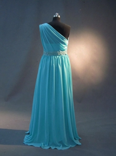 Simple Turquoise One Shoulder A-line Plus Size Couture Bridesmaid Dresses