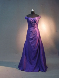 Charming Purple Off Shoulder A-line Wedding Guest Dress