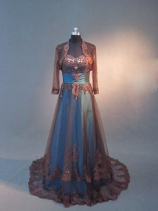 Modest Chocolate And Teal Mother Of The Bride Dresses With Long Sleeves Jacket