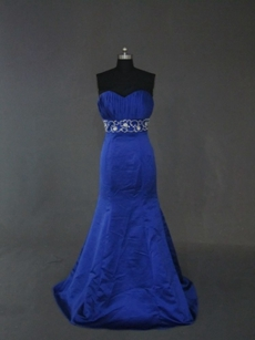 Elegant Royal Blue Trumpet Embroidery Party Dresses