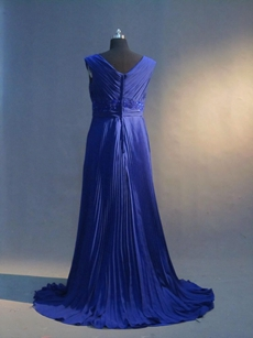Beautiful Royal Blue Chiffon Plus Size Evening Dresses With Ruched Bodice