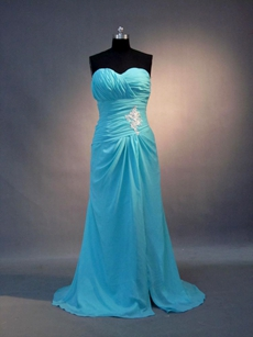 Delicate Strapless Sweetheart Blue 8th Grade Graduation Dresses