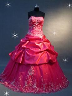 Dramatic Fuchsia Embroidery Quinceanera Dress