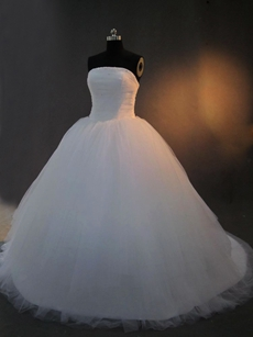 Chic White Strapless Ball Gown Wedding Dress