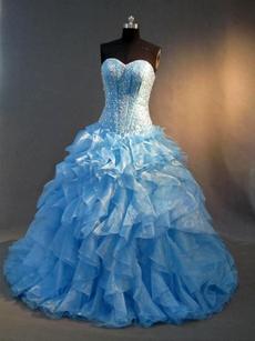 Haute Beaded Blue Drop Waist 2016 Quinceanera Dress with Ruffles