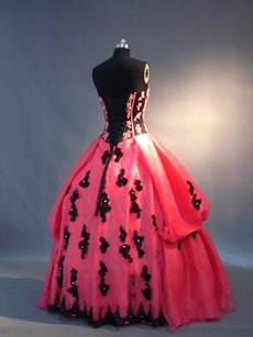 Traditional Strapless Fuchsia and Black Quinceanera Dress