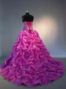 Stylish Fuchsia Princess Quinceanera Court Dresses 2016