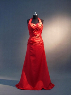 Best Halter Long Red Bridesmaid Dresses