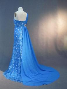 Elegant One Shoulder Blue Chiffon Plus Size Mother of Bride Dress