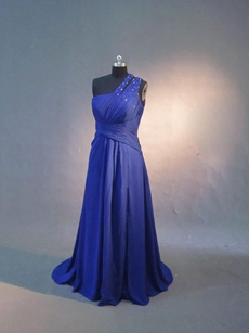 Elegant Royal Blue Maxi Graduation Dresses With Beads