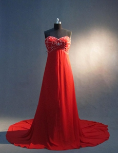 Charming Red Chiffon Sweetheart Maternity Evening Dresses
