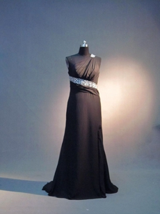 Sexy Black Chiffon One Shoulder Graduation Dresses