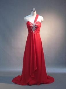 Charming Red Chiffon One Shoulder A-line EWvening Dresses for eddings
