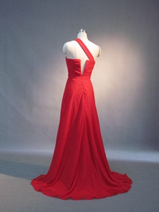 Charming Red Chiffon One Shoulder A-line EWvening Dresses for eddings