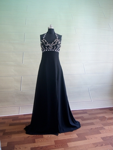 Pretty Black Chiffon Halter Evening Dresses On Sale