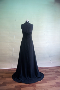 Pretty Black Chiffon Halter Evening Dresses On Sale