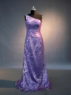 Terrific Lavender One Shoulder Evening Dresses With Sequins