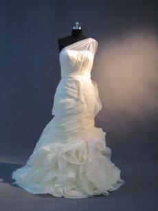 Unique Champagne One Shoulder Mermaid Bridal Gown