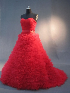 Gorgeous Red Sweetheart Princess Ball Gown Dresses