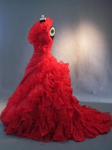 Victoria Red Halter Puffy Floor Length Gothic Wedding Dresses 2016