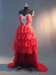 Lovely Red Chiffon Sweetheart High Low Sweetheart Dresses With Ruffles