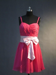 Cute Fuchsia Chiffon Short Bridesmaid Gown