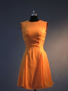 Simple Orange Chiffon Jewel Homecoming Dresses under 100