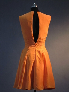 Simple Orange Chiffon Jewel Homecoming Dresses under 100