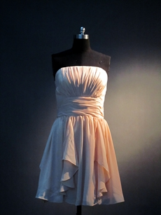 Lovely Strapless Coral Chiffon Bridesmaid Gowns