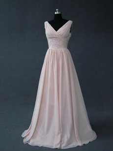 Affordable V-Neckline Pink Bridesmaid Dresses