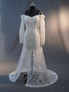 Sexy Off Shoulder Lace Long Sleeves Wedding Dresses