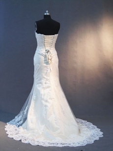 Beautiful Sweetheart Sheath Lace Wedding Gowns Lace Up Back