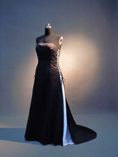 Simple Strapless Black & Blue Satin A-line Bridesmaid Dresses