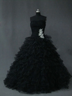 Mystique Black Ruffle 2016 Wedding Dress