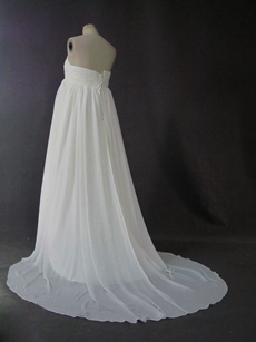 Simple Ivory Chiffon Strapless Empire Maternity Wedding Dresses