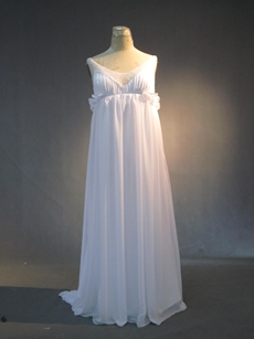 Cheap White Chiffon Full Length Maternity Wedding Dresses With Beads